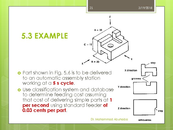 21 5. 3 EXAMPLE Part shown in Fig. 5. 6 is to be delivered