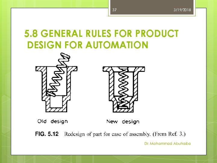 37 3/19/2018 5. 8 GENERAL RULES FOR PRODUCT DESIGN FOR AUTOMATION Dr. Mohammad Abuhaiba