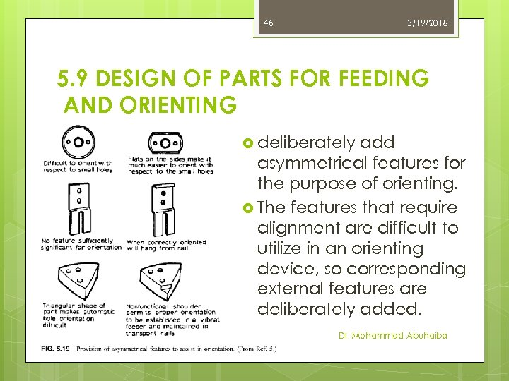 46 3/19/2018 5. 9 DESIGN OF PARTS FOR FEEDING AND ORIENTING deliberately add asymmetrical
