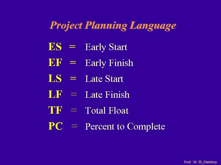 Project Planning Language ES EF LS LF TF PC = = = Early Start
