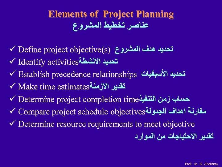 Elements of Project Planning ﻋﻨﺎﺻﺮ ﺗﺨﻄﻴﻂ ﺍﻟﻤﺸﺮﻭﻉ ü Define project objective(s) ﺗﺤﺪﻳﺪ ﻫﺪﻑ ﺍﻟﻤﺸﺮﻭﻉ