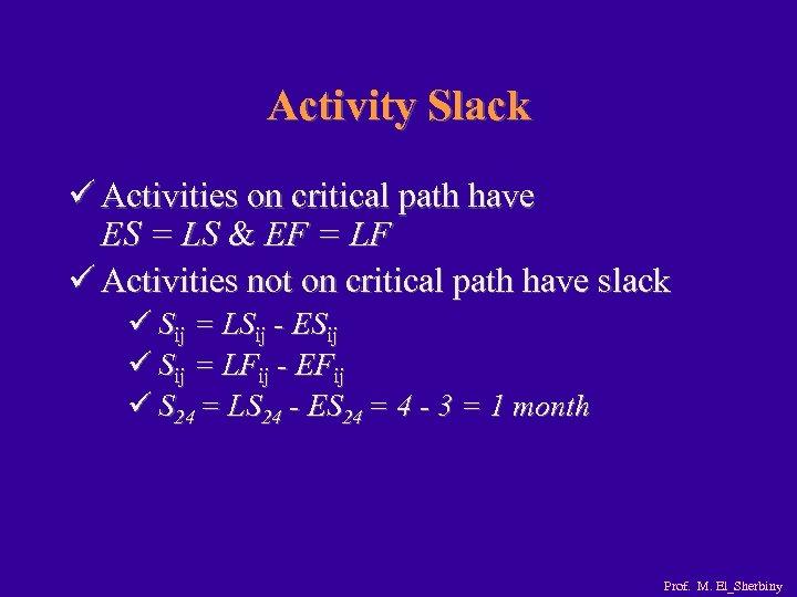 Activity Slack ü Activities on critical path have ES = LS & EF =
