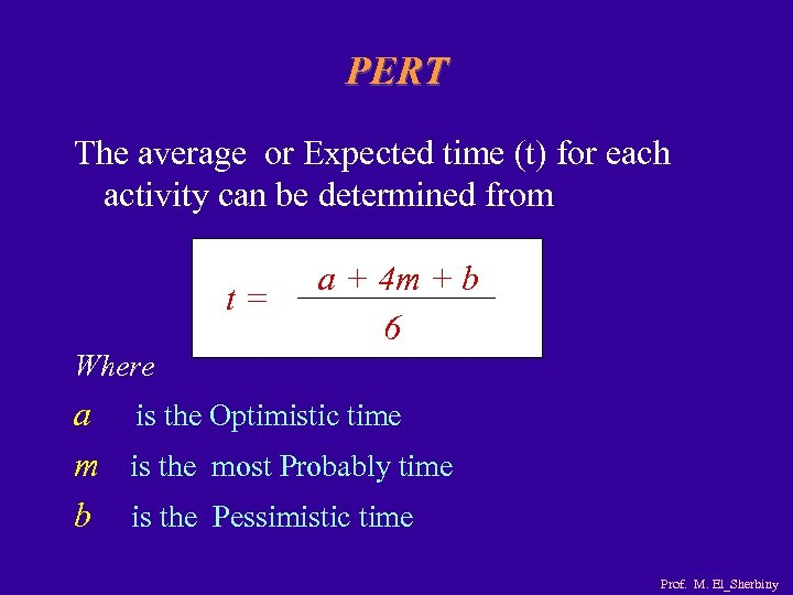 PERT The average or Expected time (t) for each activity can be determined from