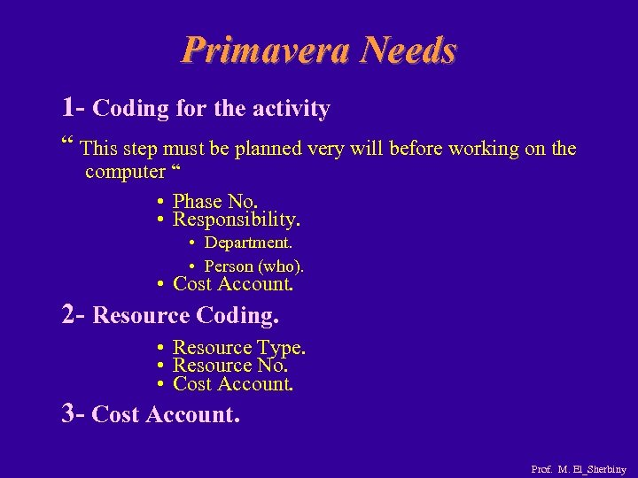 """Primavera Needs 1 - Coding for the activity """" This step must be planned"""