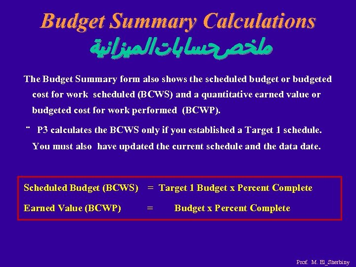Budget Summary Calculations ﺣﺴﺎﺑﺎﺕﺍﻟﻤﻴﺰﺍﻧﻴﺔ ﻣﻠﺨﺺ The Budget Summary form also shows the scheduled budget