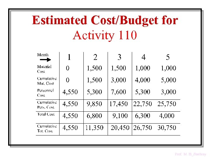 Estimated Cost/Budget for Activity 110 Prof. M. El_Sherbiny