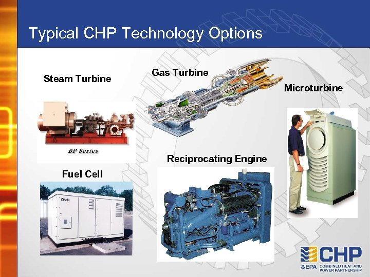 Typical CHP Technology Options Steam Turbine Gas Turbine Microturbine Reciprocating Engine Fuel Cell