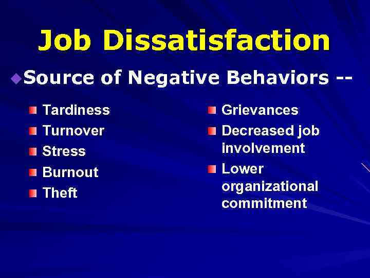 job dissatisfaction affects employee behavior Attituudes affects job the job is intrinsic monitoring employee behavior responses to job dissatisfaction outcomes towards job dissatisfaction.