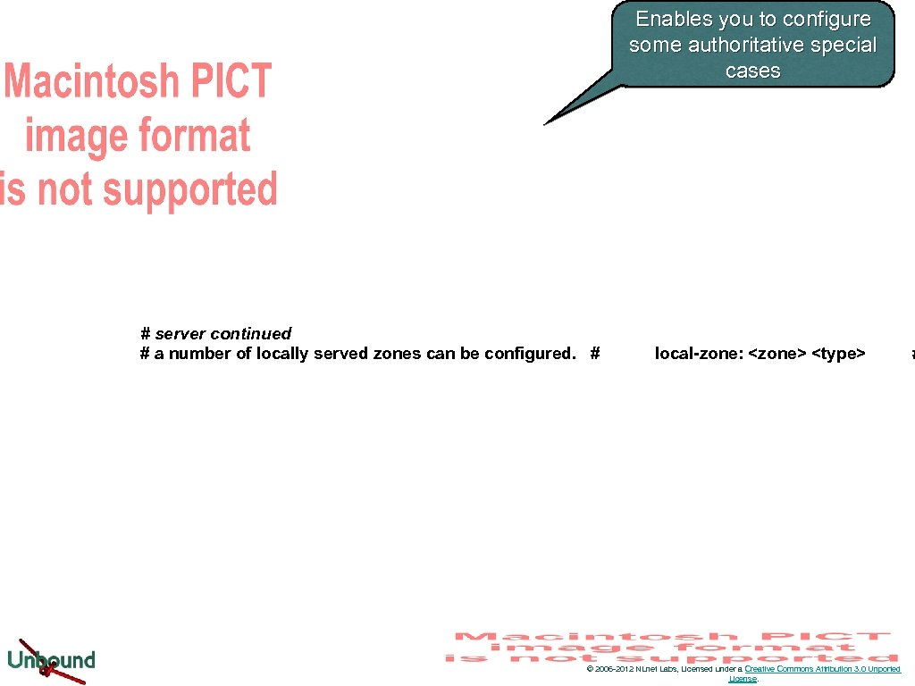 Enables you to configure some authoritative special cases # server continued # a number