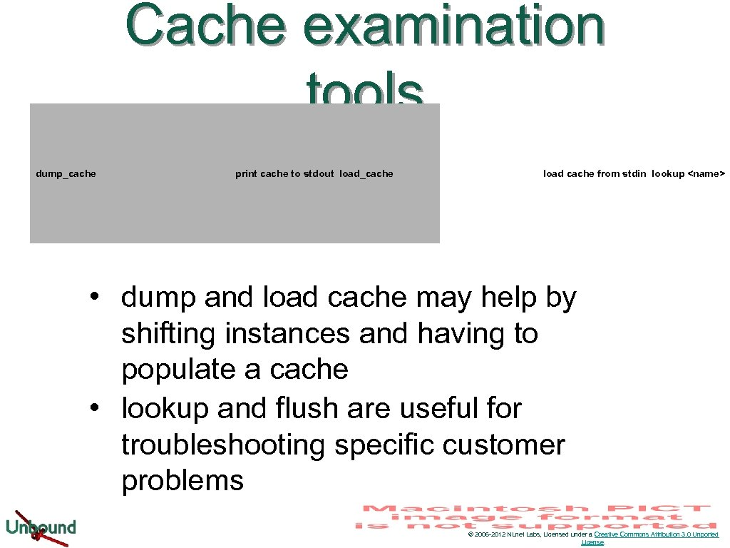 Cache examination tools dump_cache print cache to stdout load_cache load cache from stdin lookup