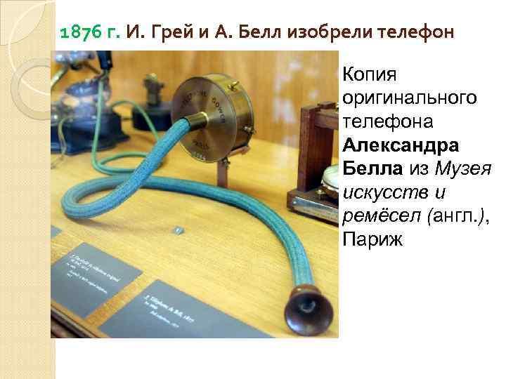 1876 г. И. Грей и А. Белл изобрели телефон Копия оригинального телефона Александра Белла