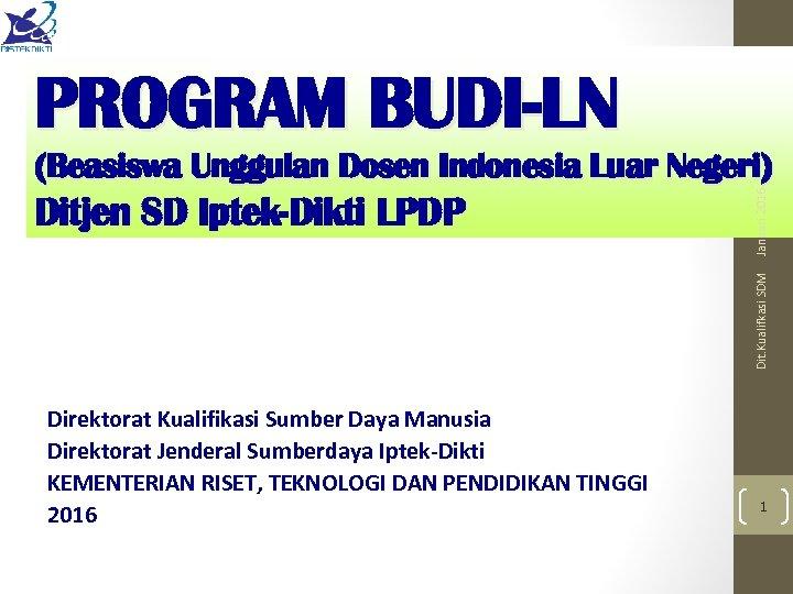 PROGRAM BUDI-LN Dit. Kualifkasi SDM Ditjen SD Iptek-Dikti LPDP Januari 2016 (Beasiswa Unggulan Dosen