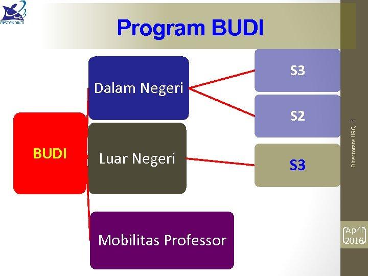 Program BUDI S 2 BUDI Luar Negeri Mobilitas Professor S 3 Directorate HRQ 3