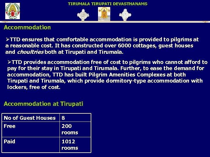 TIRUMALA TIRUPATI DEVASTHANAMS Accommodation ØTTD ensures that comfortable accommodation is provided to pilgrims at