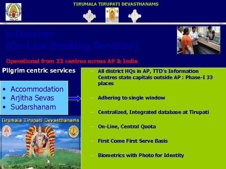 TIRUMALA TIRUPATI DEVASTHANAMS e-Darshan (On-Line Booking Services) Operational from 33 centres across AP &