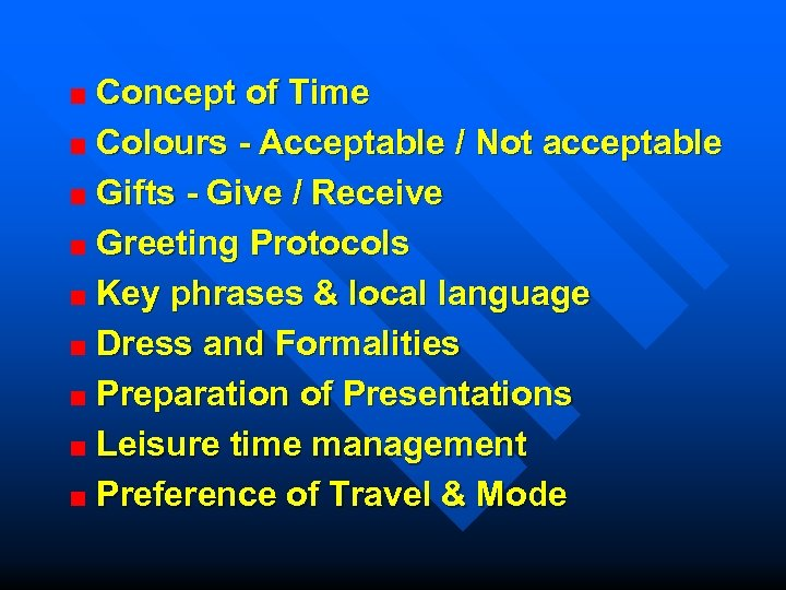 Concept of Time Colours - Acceptable / Not acceptable Gifts - Give / Receive