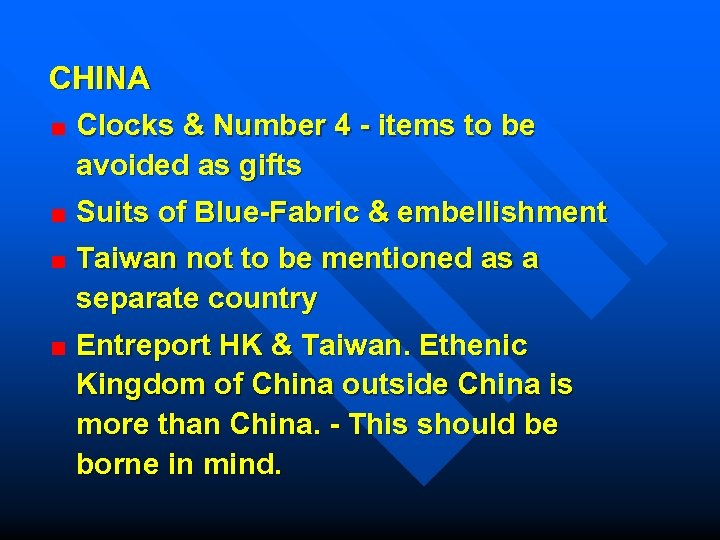 CHINA Clocks & Number 4 - items to be avoided as gifts Suits of