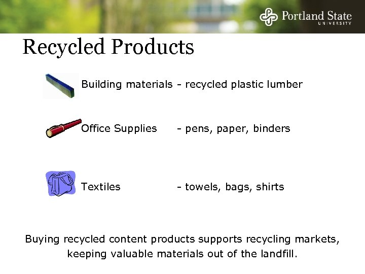 Recycled Products Building materials - recycled plastic lumber Office Supplies - pens, paper, binders