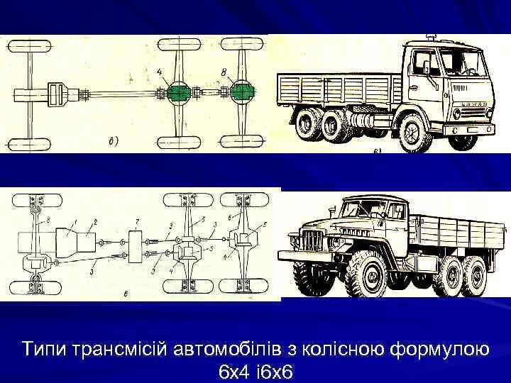 Типи трансмісій автомобілів з колісною формулою 6 х4 і 6 х6