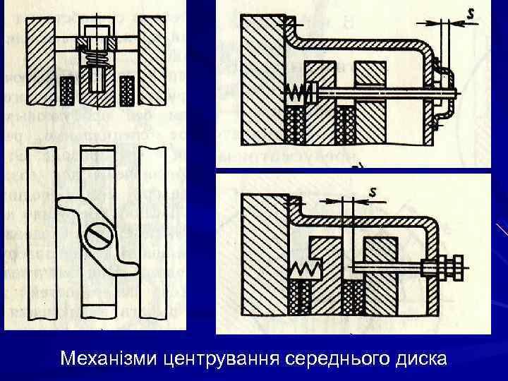 Механізми центрування середнього диска