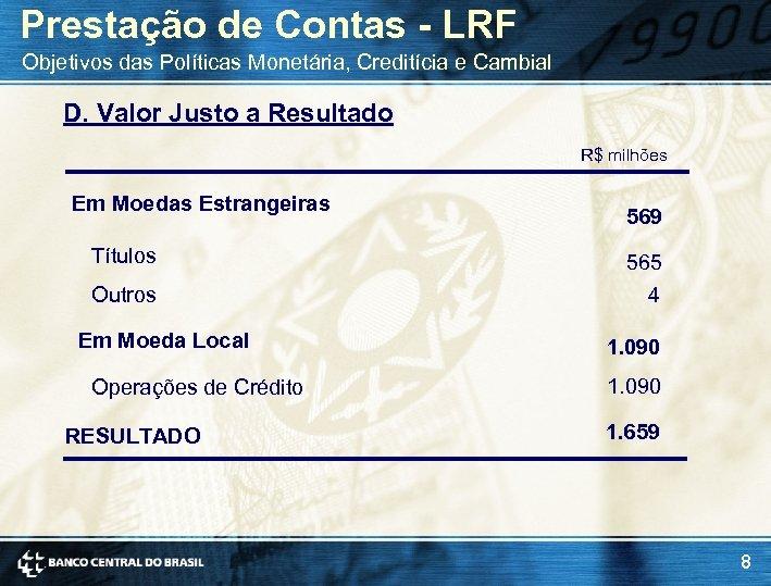 Prestação de Contas - LRF Objetivos das Políticas Monetária, Creditícia e Cambial D. Valor