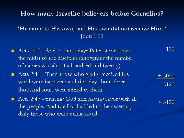 """How many Israelite believers before Cornelius? """"He came to His own, and His own"""