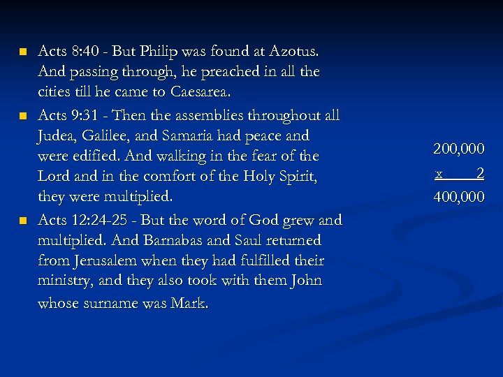 n n n Acts 8: 40 - But Philip was found at Azotus. And