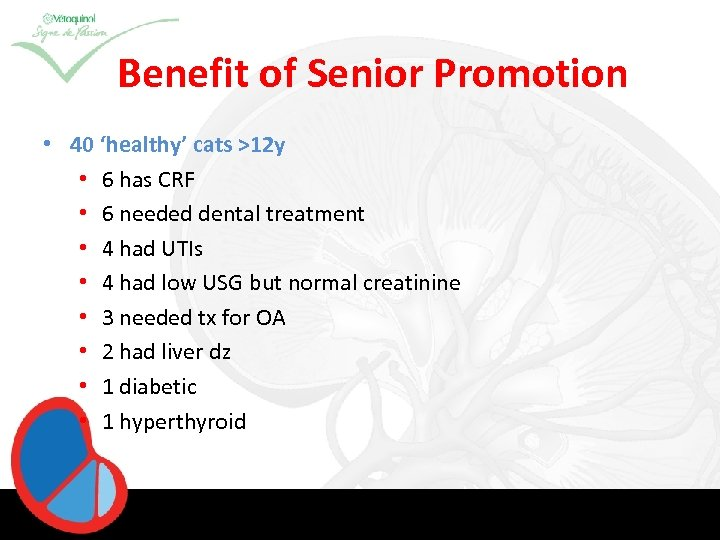 Benefit of Senior Promotion • 40 'healthy' cats >12 y • 6 has CRF
