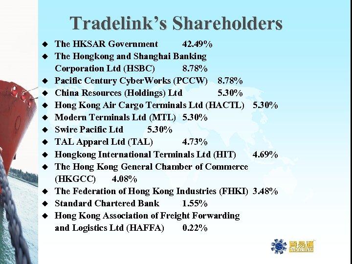 Tradelink's Shareholders u u u u The HKSAR Government 42. 49% The Hongkong and