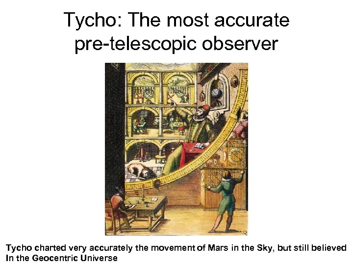 Tycho: The most accurate pre-telescopic observer Tycho charted very accurately the movement of Mars