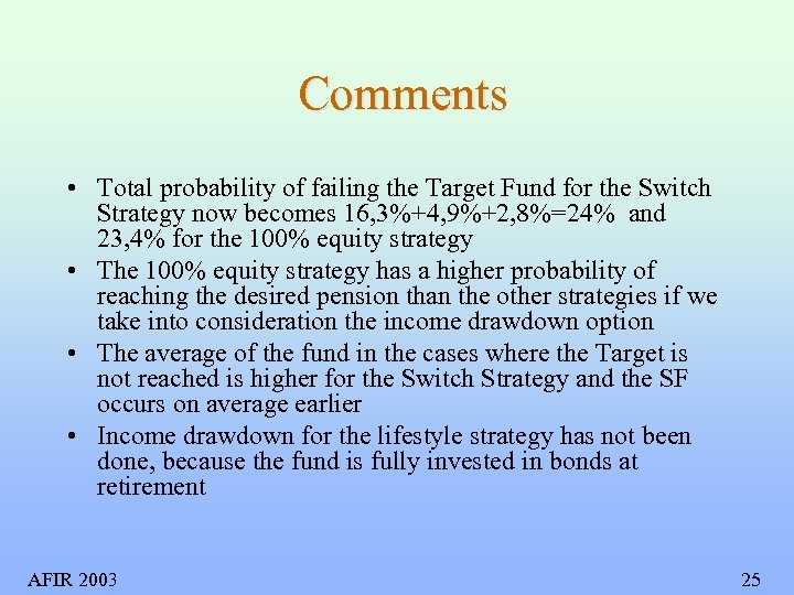 Comments • Total probability of failing the Target Fund for the Switch Strategy now