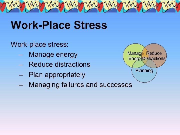 Work-Place Stress Work-place stress: Manage Reduce – Manage energy Energy. Distractions – Reduce distractions