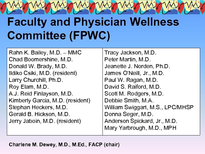 Faculty and Physician Wellness Committee (FPWC) Rahn K. Bailey, M. D. – MMC Chad