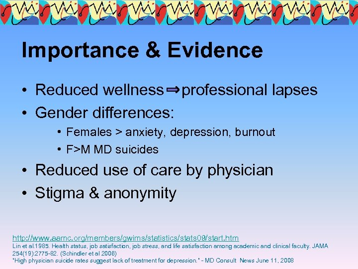 Importance & Evidence • Reduced wellness professional lapses • Gender differences: • Females >