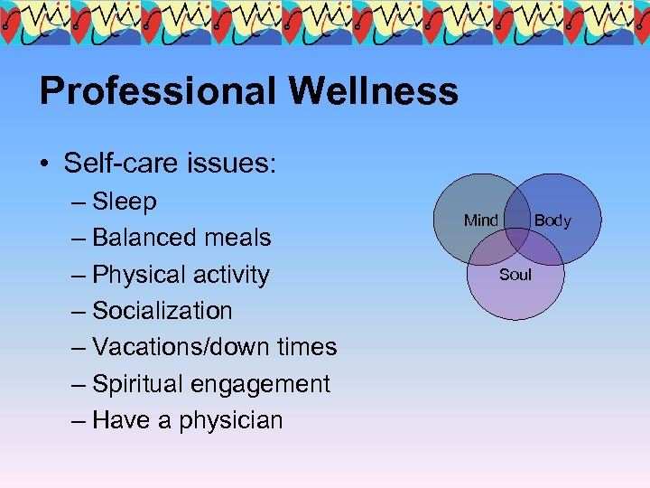 Professional Wellness • Self-care issues: – Sleep – Balanced meals – Physical activity –