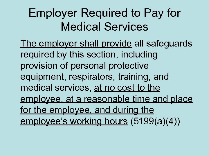 Employer Required to Pay for Medical Services The employer shall provide all safeguards required