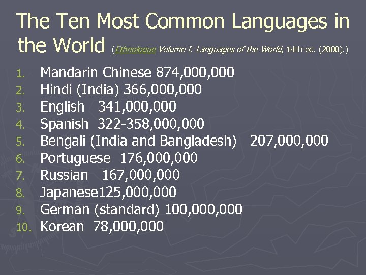 The Ten Most Common Languages in the World Ethnologue Volume I: Languages of the