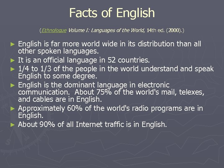 Facts of English (Ethnologue Volume I: Languages of the World, 14 th ed. (2000).