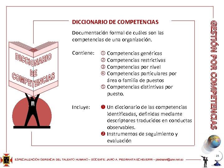Documentación formal de cuáles son las competencias de una organización. Contiene: Competencias genéricas Competencias