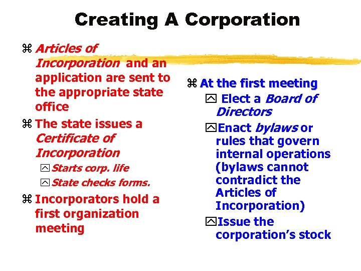 Creating A Corporation z Articles of Incorporation and an application are sent to the
