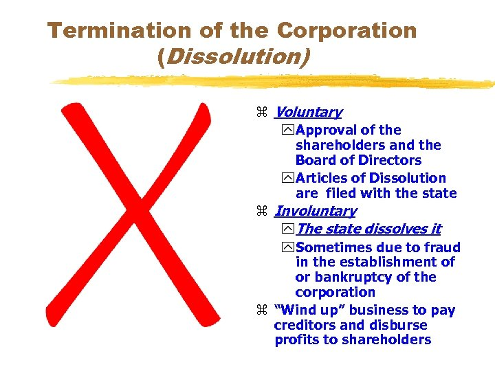 Termination of the Corporation (Dissolution) z Voluntary y Approval of the shareholders and the