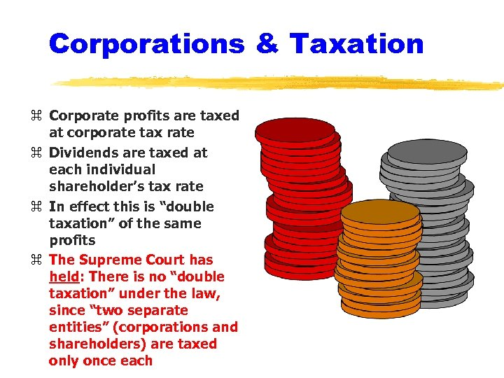 Corporations & Taxation z Corporate profits are taxed at corporate tax rate z Dividends