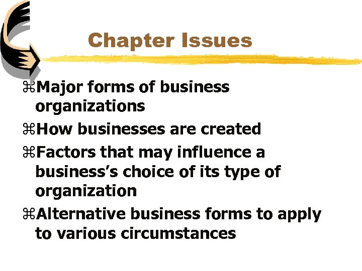 Chapter Issues z. Major forms of business organizations z. How businesses are created z.