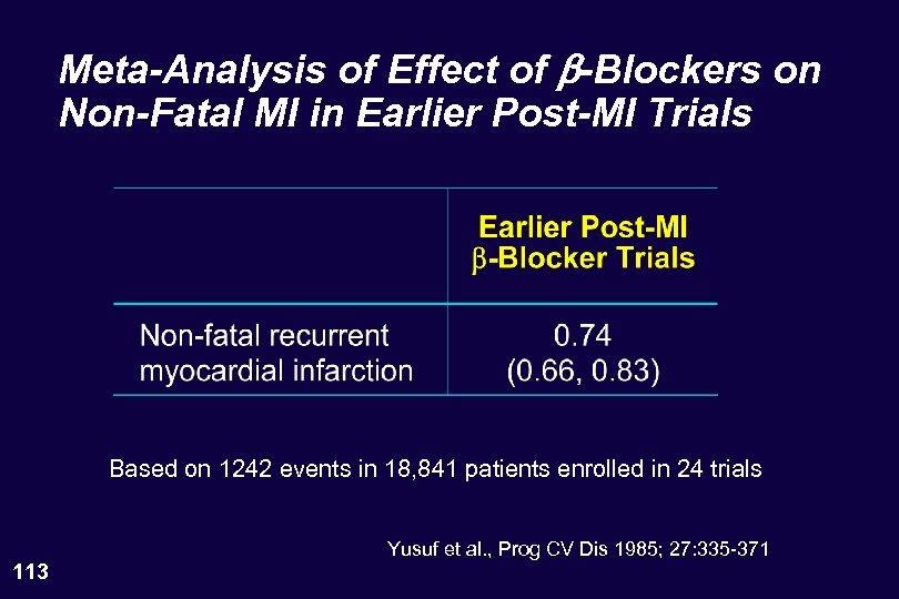 Meta-Analysis of Effect of b-Blockers on Non-Fatal MI in Earlier Post-MI Trials Based on
