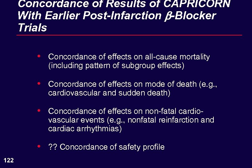Concordance of Results of CAPRICORN With Earlier Post-Infarction b-Blocker Trials • • Concordance of