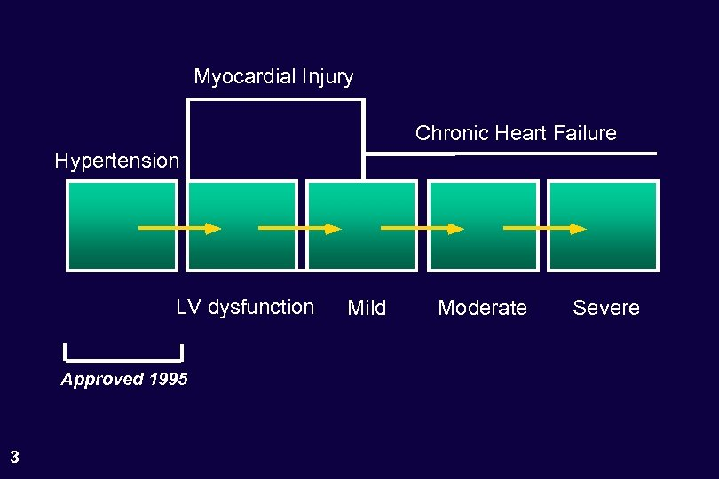 Myocardial Injury Chronic Heart Failure Hypertension LV dysfunction Approved 1995 3 Mild Moderate Severe