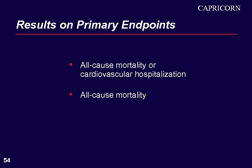 CAPRICORN Results on Primary Endpoints • • 54 All-cause mortality or cardiovascular hospitalization All-cause