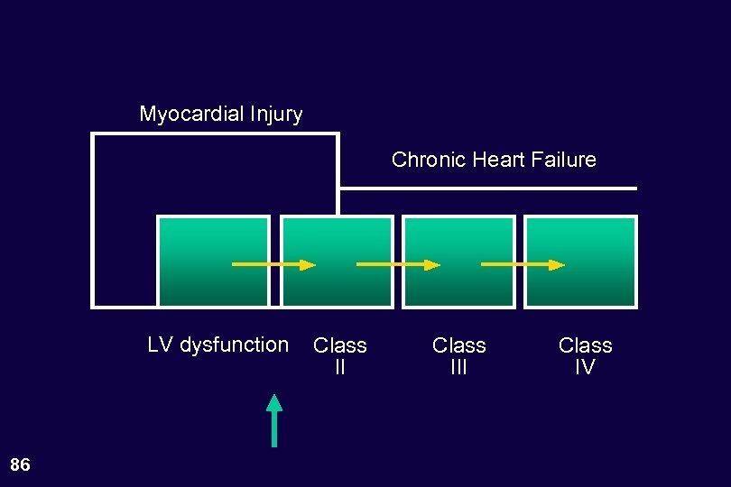 Myocardial Injury Chronic Heart Failure LV dysfunction 86 Class III Class IV