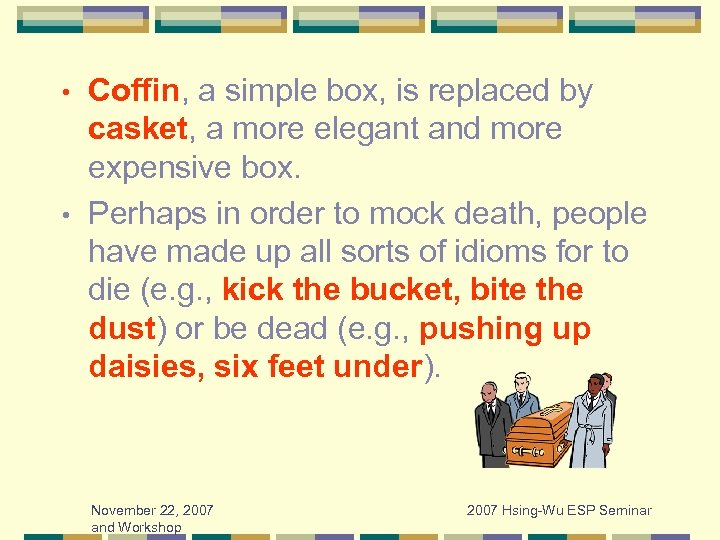 Coffin, a simple box, is replaced by casket, a more elegant and more expensive