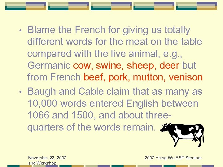 Blame the French for giving us totally different words for the meat on the
